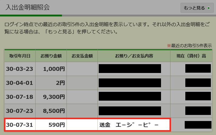 ゆうちょ銀行明細
