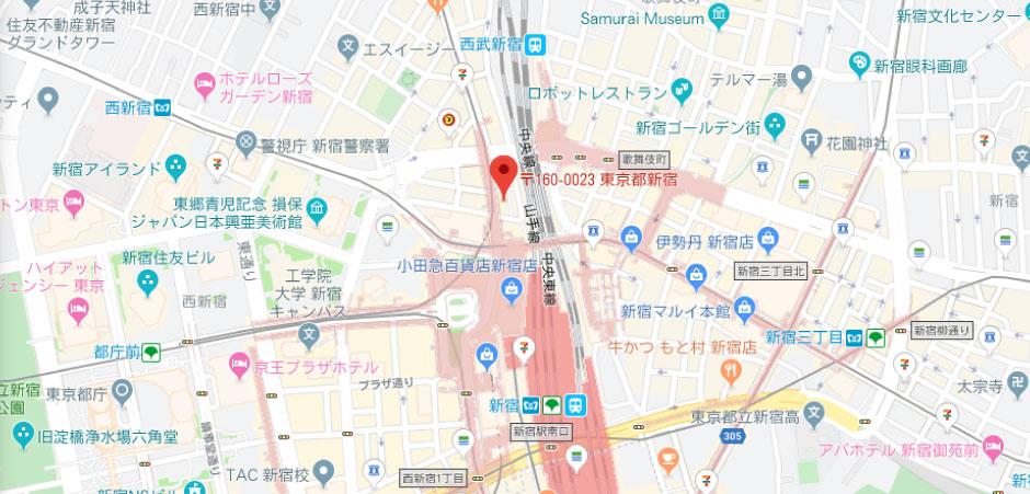 電子マネーショップの地図